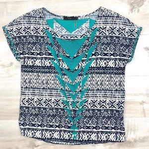 Anthropologie THML Top Blouse Embroidered Teal Tee